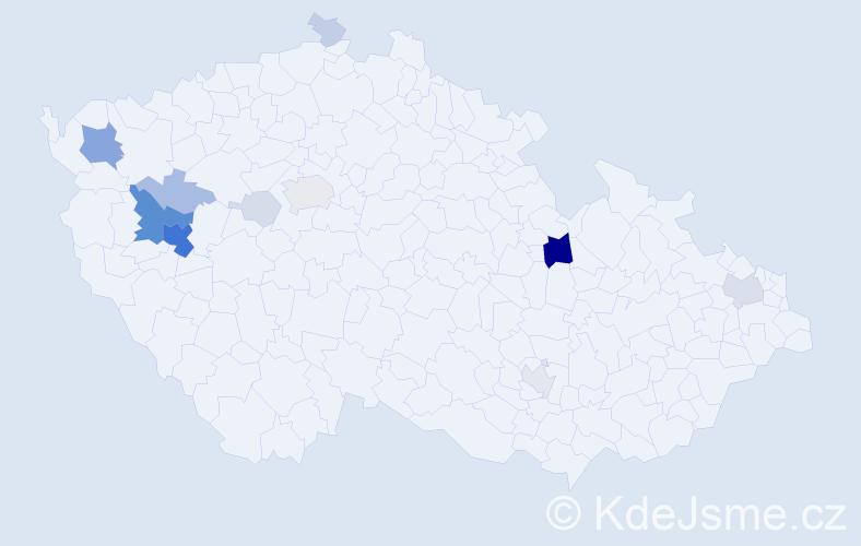 Příjmení: 'Krystl', počet výskytů 52 v celé ČR