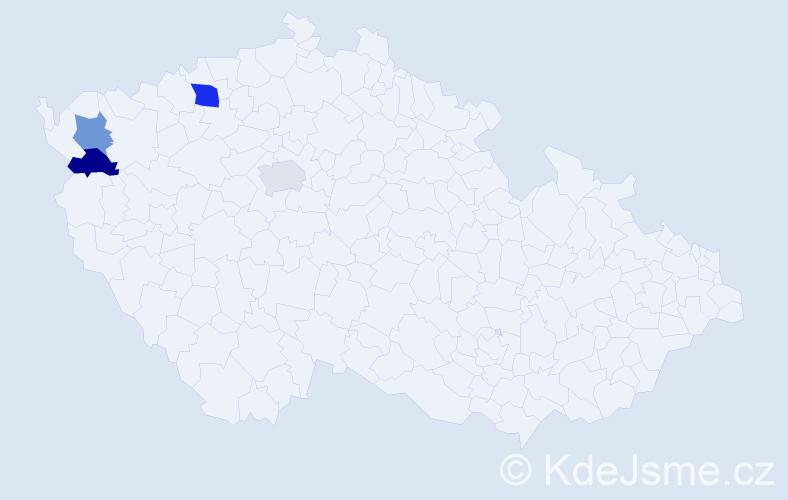 Příjmení: 'Konheiser', počet výskytů 5 v celé ČR