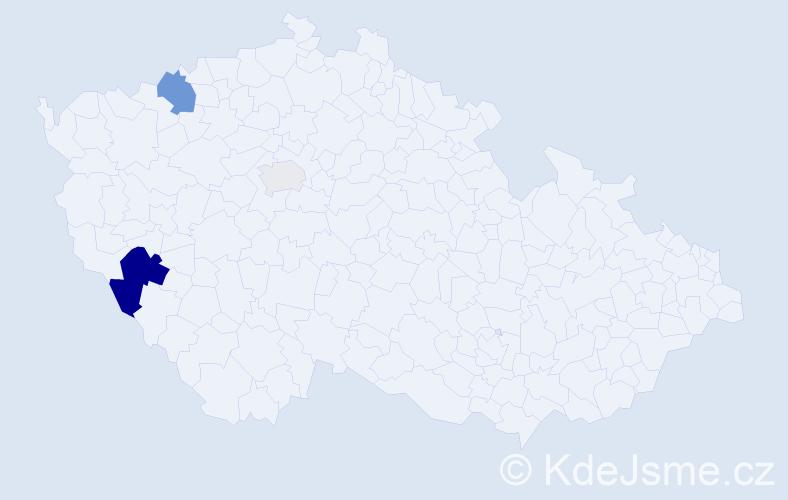 Příjmení: 'Kiklhorn', počet výskytů 7 v celé ČR