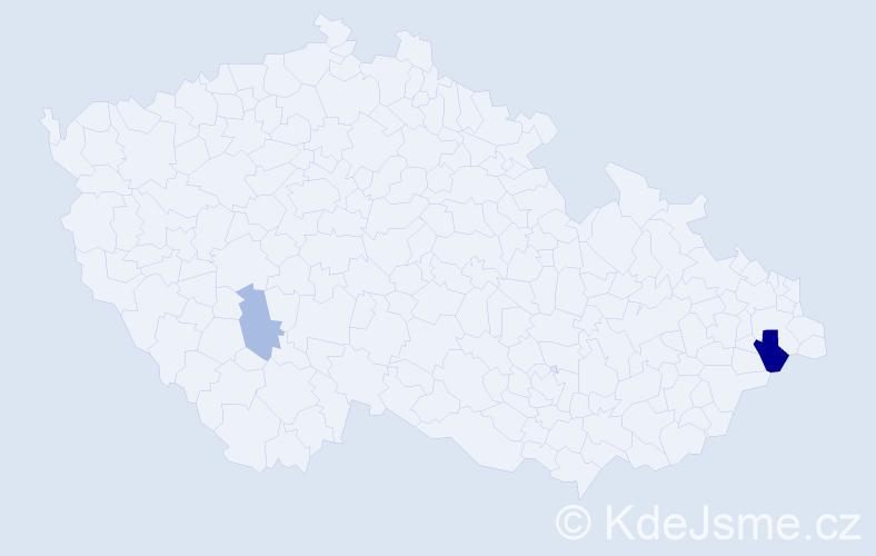 Příjmení: 'Bruncvik', počet výskytů 4 v celé ČR
