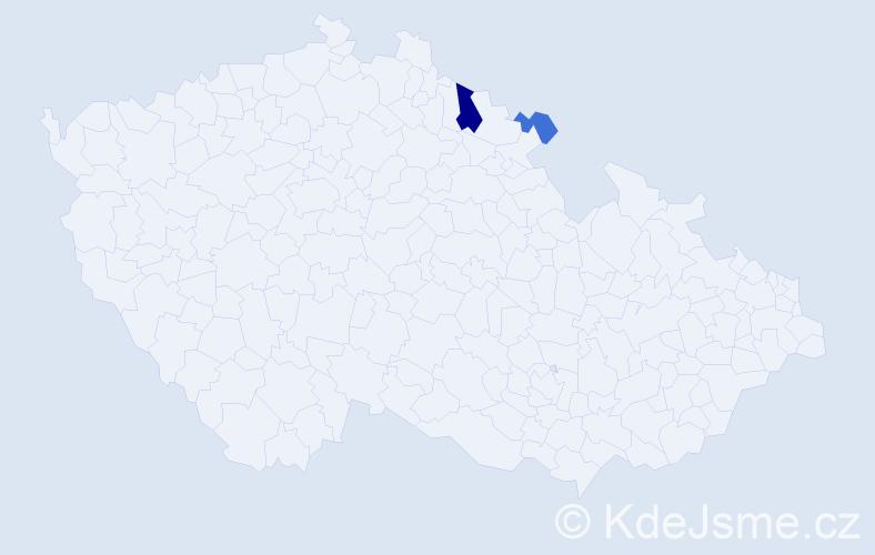 Příjmení: 'Abelyová', počet výskytů 8 v celé ČR