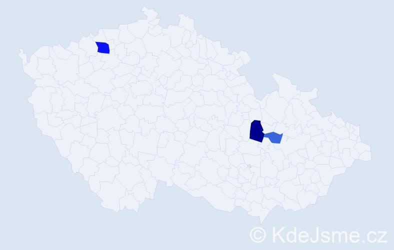 Příjmení: 'Kritzbach', počet výskytů 7 v celé ČR