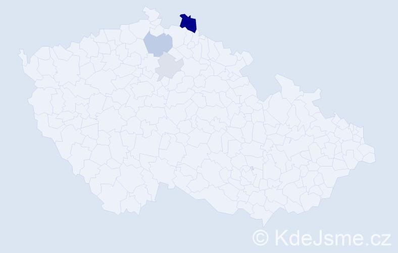 Příjmení: 'Ismanická', počet výskytů 10 v celé ČR