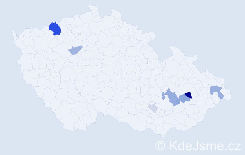 Příjmení: 'Javorček', počet výskytů 9 v celé ČR