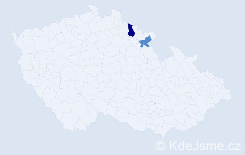 Příjmení: 'Jungtonová', počet výskytů 2 v celé ČR