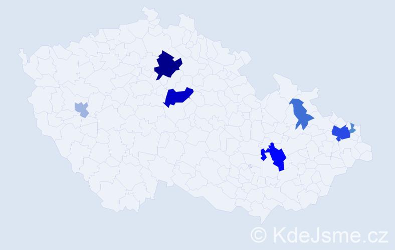 Příjmení: 'Hromjaková', počet výskytů 19 v celé ČR