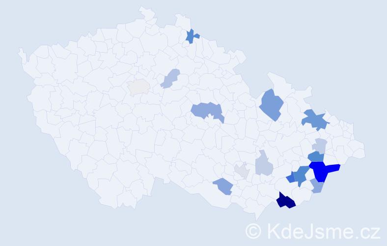Příjmení: 'Evják', počet výskytů 59 v celé ČR