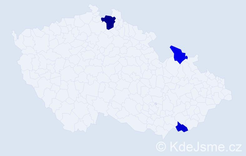Příjmení: 'Kadláč', počet výskytů 5 v celé ČR