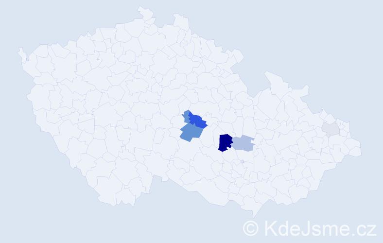 Příjmení: 'Hnědá', počet výskytů 10 v celé ČR