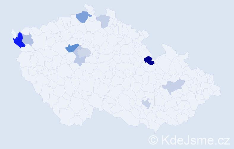 Příjmení: 'Dvonč', počet výskytů 24 v celé ČR