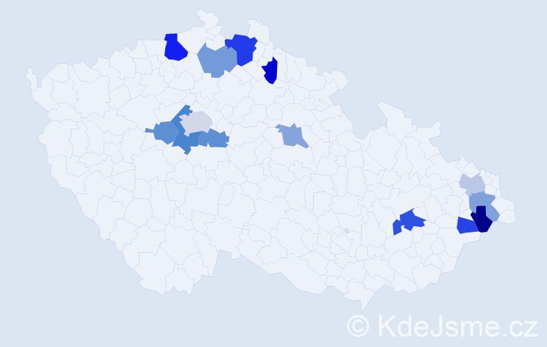 Příjmení: 'Hagan', počet výskytů 21 v celé ČR