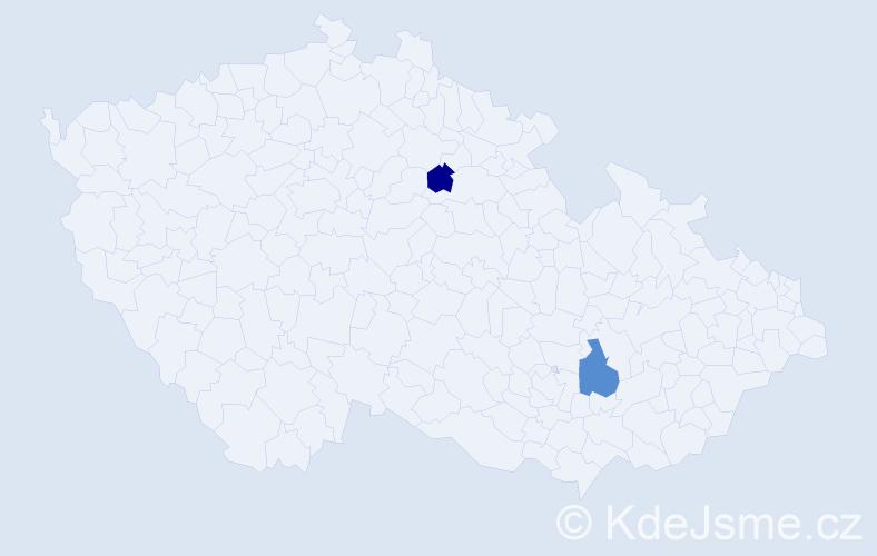 Příjmení: 'Čakyová', počet výskytů 7 v celé ČR