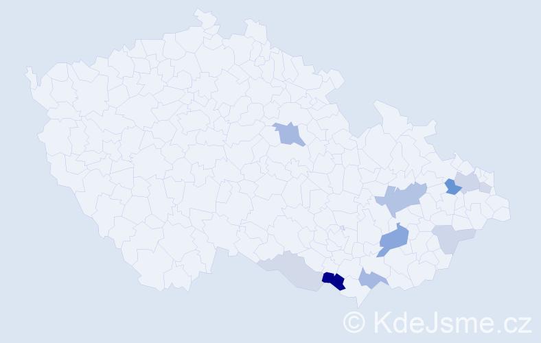 Příjmení: 'Lavrovičová', počet výskytů 23 v celé ČR