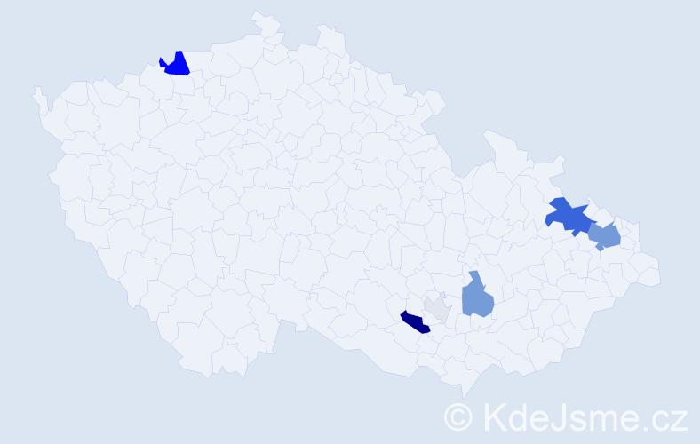 Příjmení: 'Bar', počet výskytů 24 v celé ČR