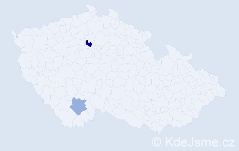 Příjmení: 'Čouzová', počet výskytů 5 v celé ČR