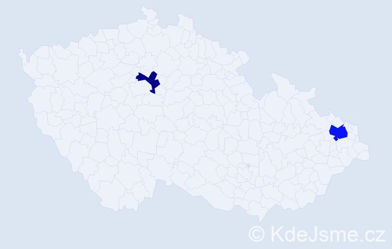 Příjmení: 'Bereta', počet výskytů 3 v celé ČR
