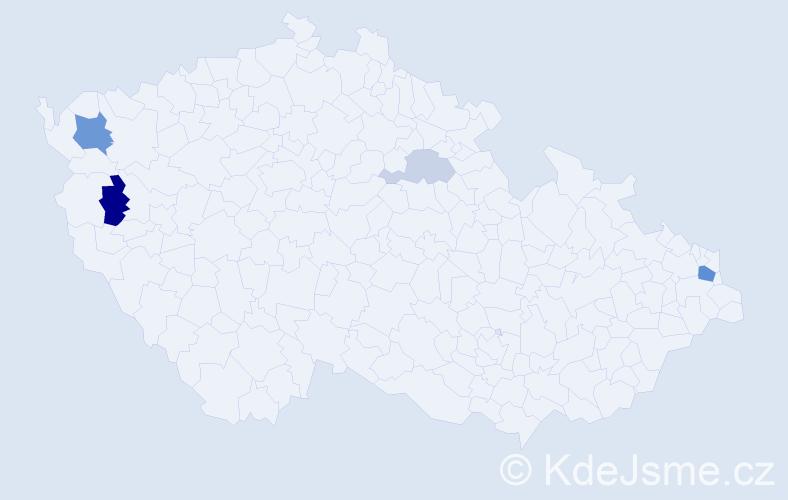 Příjmení: 'Kiseľová', počet výskytů 10 v celé ČR