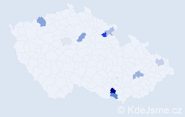 Příjmení: 'Golejová', počet výskytů 28 v celé ČR