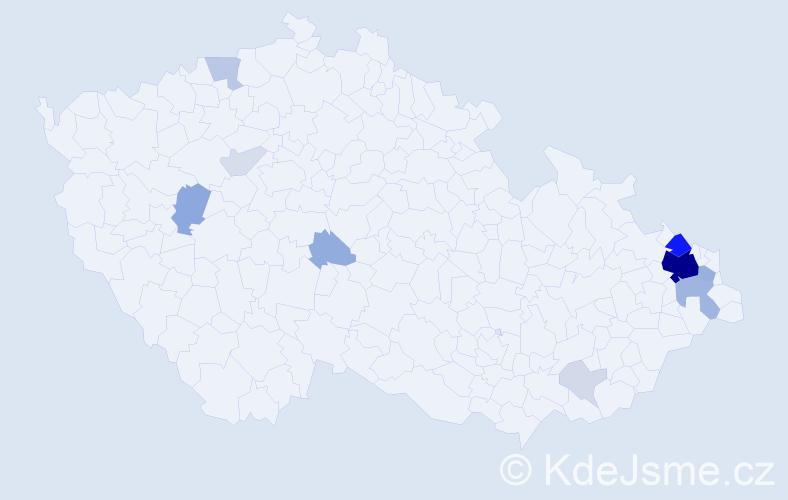 Příjmení: 'Glumbík', počet výskytů 60 v celé ČR