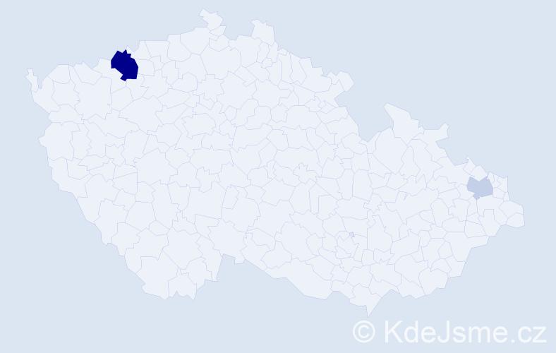 Příjmení: 'Božok', počet výskytů 5 v celé ČR