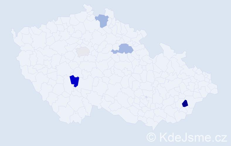 Příjmení: 'Backárová', počet výskytů 5 v celé ČR