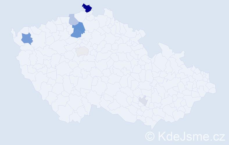 Příjmení: 'Hiekeová', počet výskytů 11 v celé ČR