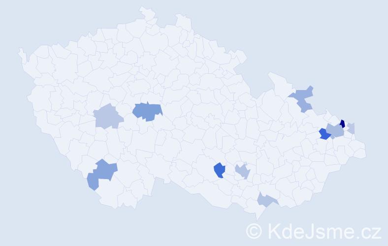 Příjmení: 'Gavroňová', počet výskytů 22 v celé ČR