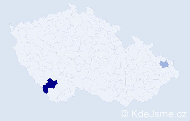Příjmení: 'Dirscherl', počet výskytů 2 v celé ČR