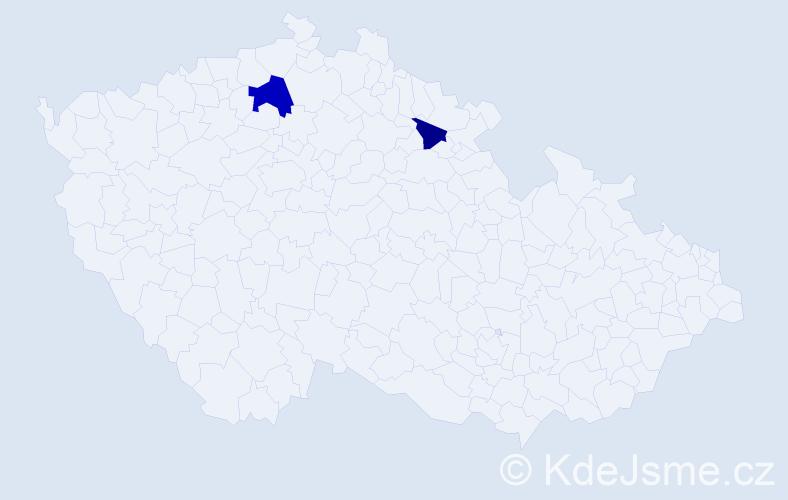 Příjmení: 'Kaánová', počet výskytů 3 v celé ČR