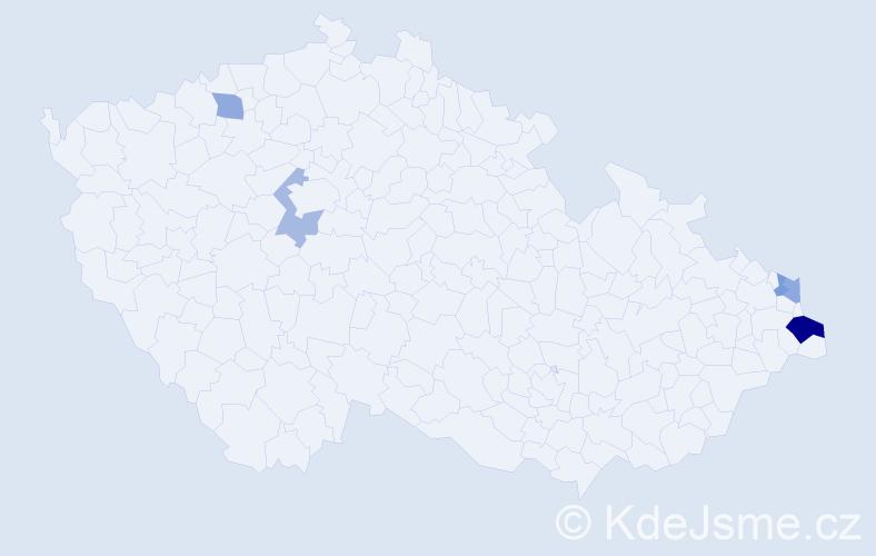 Příjmení: 'Czaderová', počet výskytů 8 v celé ČR
