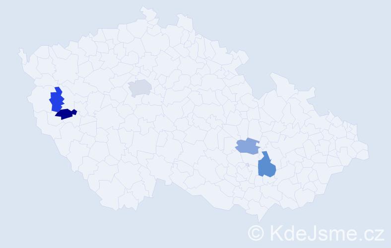 Příjmení: 'Gűtterová', počet výskytů 9 v celé ČR