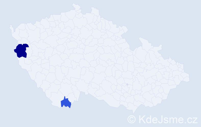 Příjmení: 'Fiume', počet výskytů 4 v celé ČR