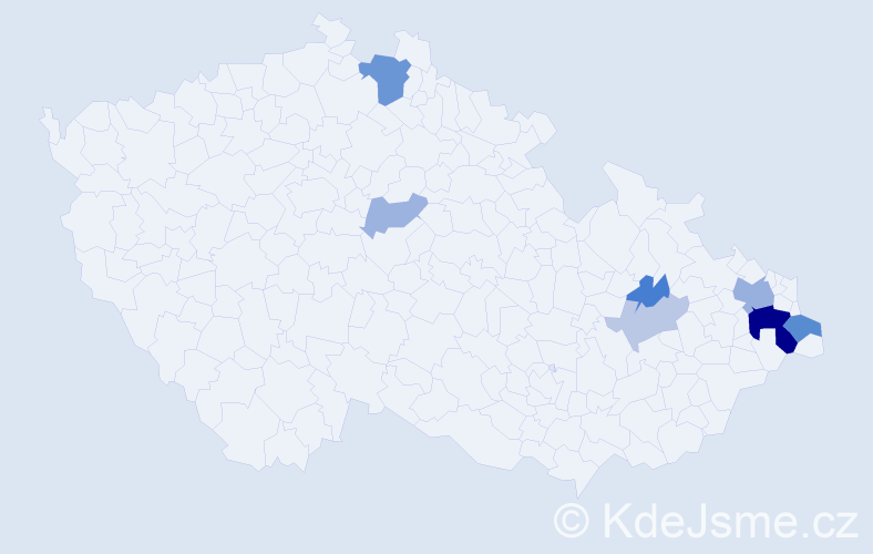 Příjmení: 'Jadviščok', počet výskytů 18 v celé ČR