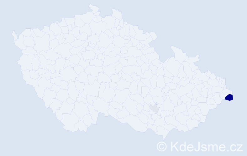 Příjmení: 'Dacho', počet výskytů 4 v celé ČR
