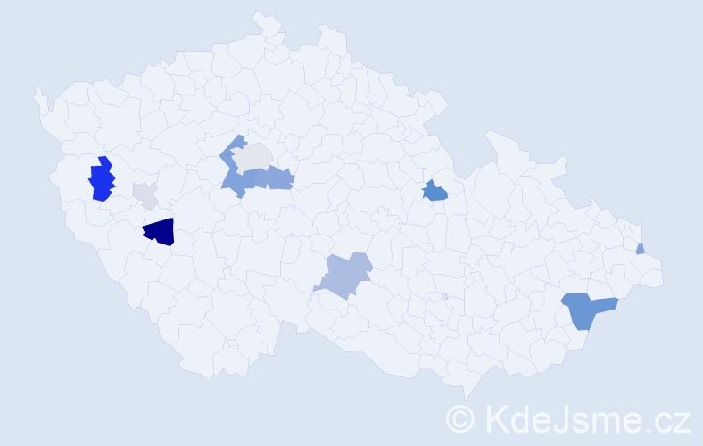Příjmení: 'Bělov', počet výskytů 23 v celé ČR