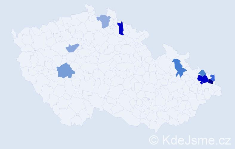 Příjmení: 'Gřegořová', počet výskytů 21 v celé ČR