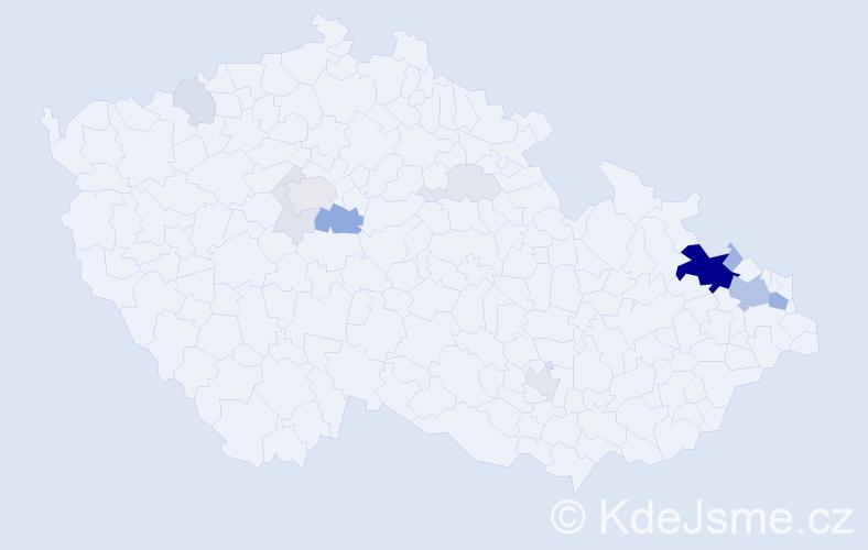 Příjmení: 'Hřivnáč', počet výskytů 47 v celé ČR