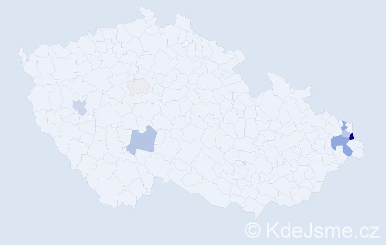 Příjmení: 'Jekielek', počet výskytů 10 v celé ČR