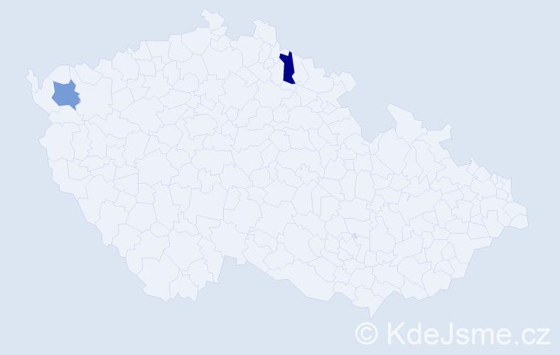 Příjmení: 'Čibik', počet výskytů 4 v celé ČR