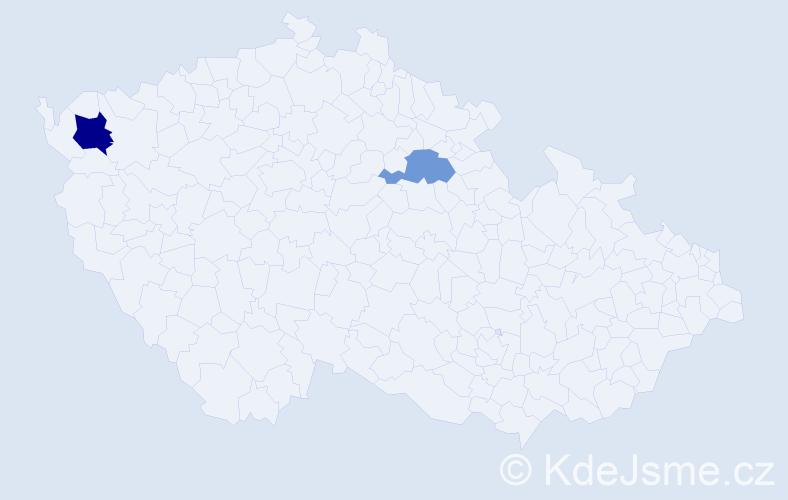 Příjmení: 'Gavčík', počet výskytů 6 v celé ČR