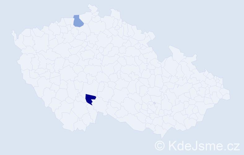 Příjmení: 'Bilyj', počet výskytů 2 v celé ČR