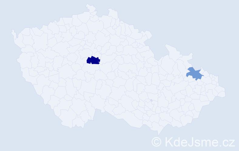 Příjmení: 'Ehrhard', počet výskytů 3 v celé ČR