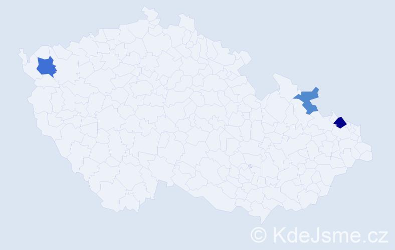 Příjmení: 'Ješík', počet výskytů 5 v celé ČR