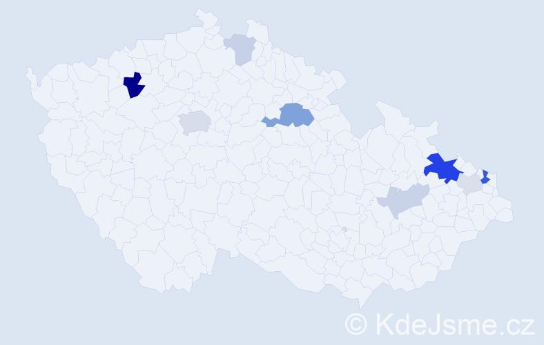 Příjmení: 'Kawan', počet výskytů 22 v celé ČR