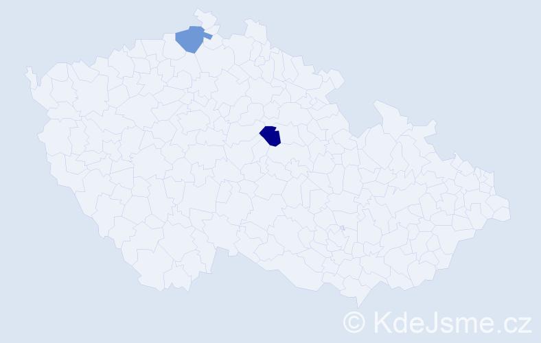 Příjmení: 'Dominicová', počet výskytů 2 v celé ČR