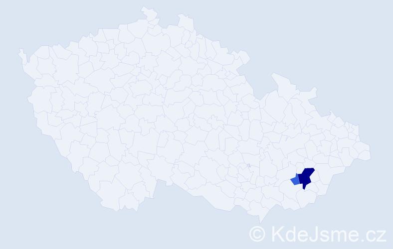 Příjmení: 'Iržáková', počet výskytů 5 v celé ČR
