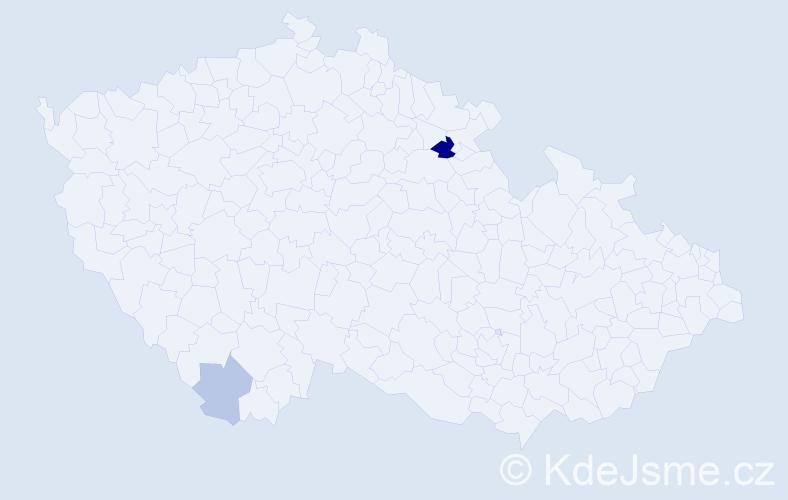 Příjmení: 'Grigori', počet výskytů 5 v celé ČR