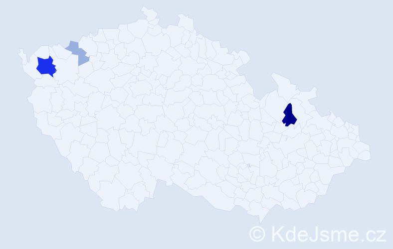 Příjmení: 'Gurbanová', počet výskytů 9 v celé ČR