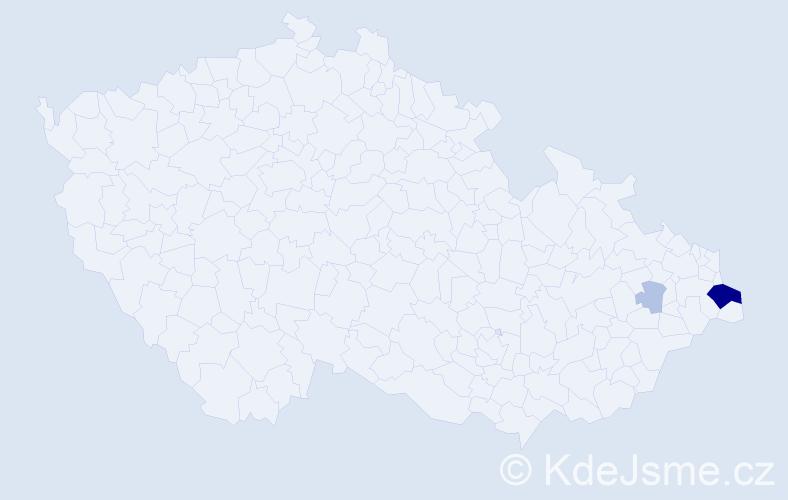 Příjmení: 'Kaznicová', počet výskytů 10 v celé ČR