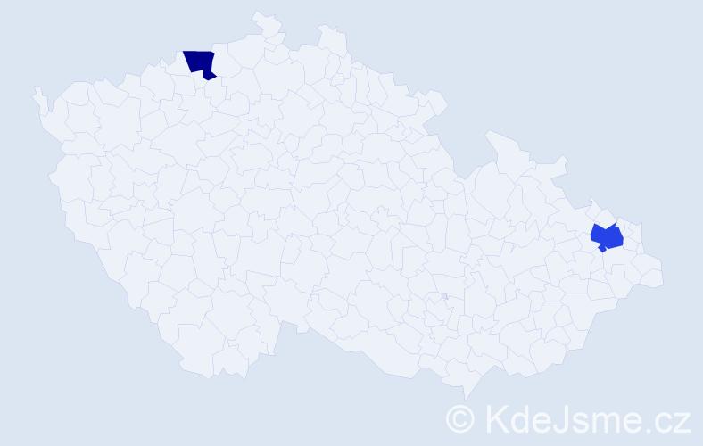 Příjmení: 'Ignacová', počet výskytů 5 v celé ČR
